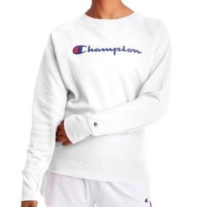 Champion Powerblend Logo Graphic Crew Sweatshirt